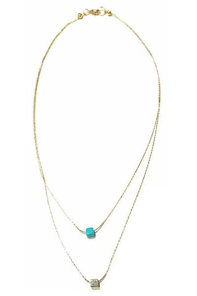 Cube and Turquoise Double Strand Necklace, $14 | Gold-Plated Fashion Necklace | Light Years Jewelry
