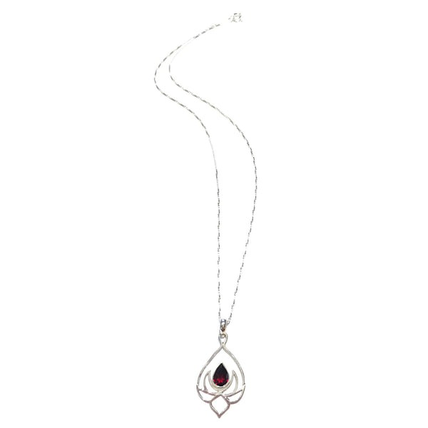Garnet Lotus Blossom Necklace, $32 | Sterling Silver Pendant | Light Years Jewelry