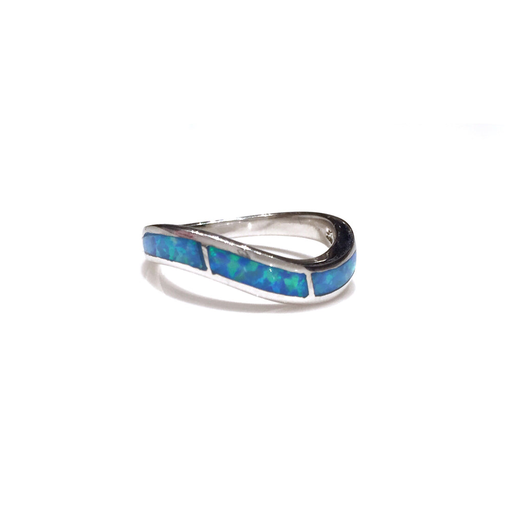 Opal Wave Ring | Sterling Silver Band Sizes 6 7 8 9 | Light Years