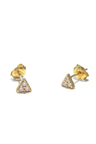 CZ Triangle Posts, $12 | Gold Stud Earrings | LIght Years Jewelry