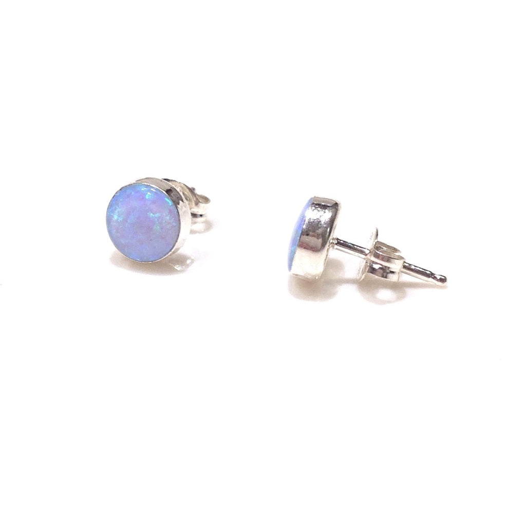 Round Blue Opal Posts, $9-$12 | Sterling Silver Stud Earrings | Light Years Jewelry