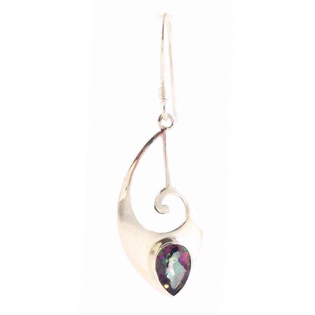 Curved Dangle with Mystic Topaz, $36 | Sterling Silver Earrings | Light Years