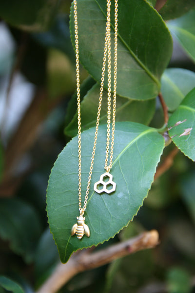 Bee & Honeycomb Necklace Set, $34 | Gold Plated | Light Years Jewelry