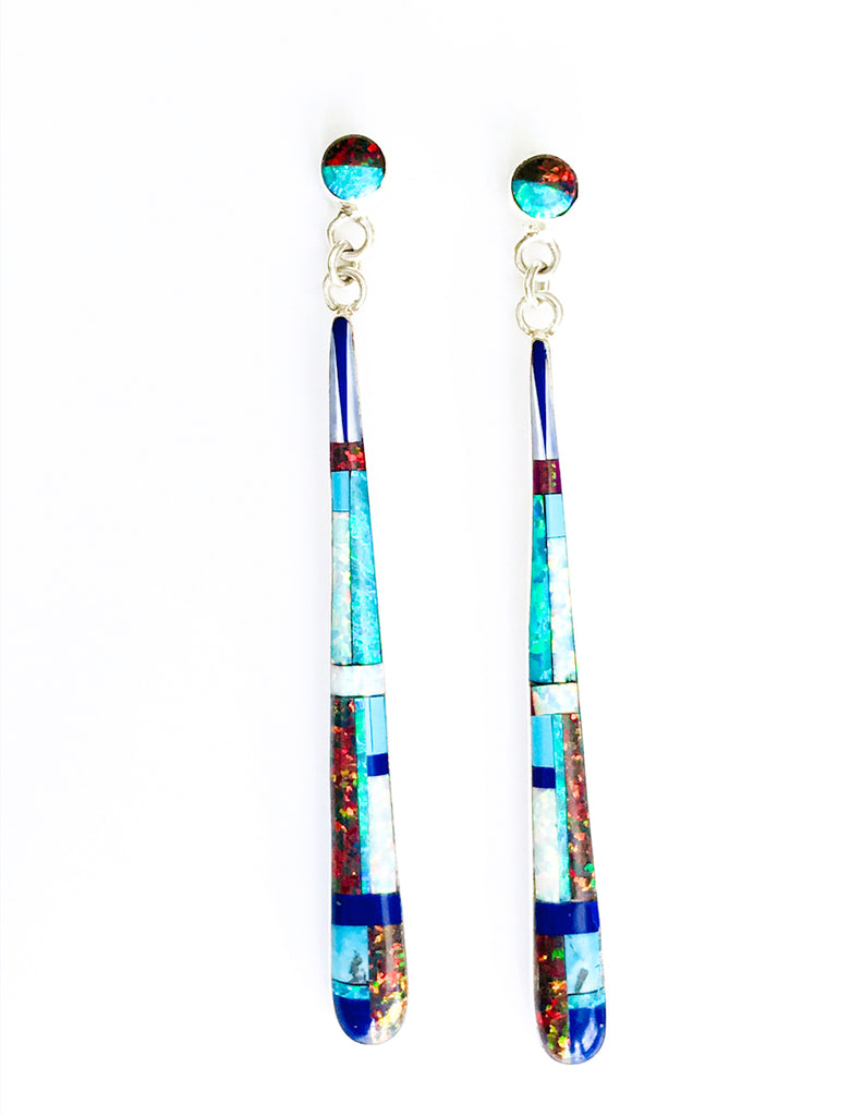 Opal Inlay Statement Earrings | Sterling Silver Posts | Light Years