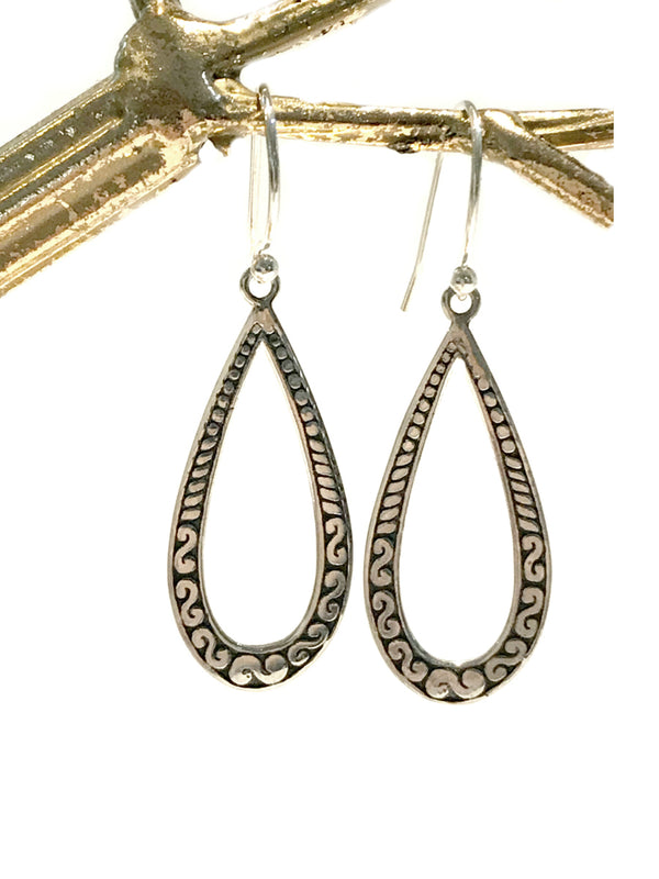 Bali Open Teardrop Dangles | Sterling Silver Earrings | Light Years