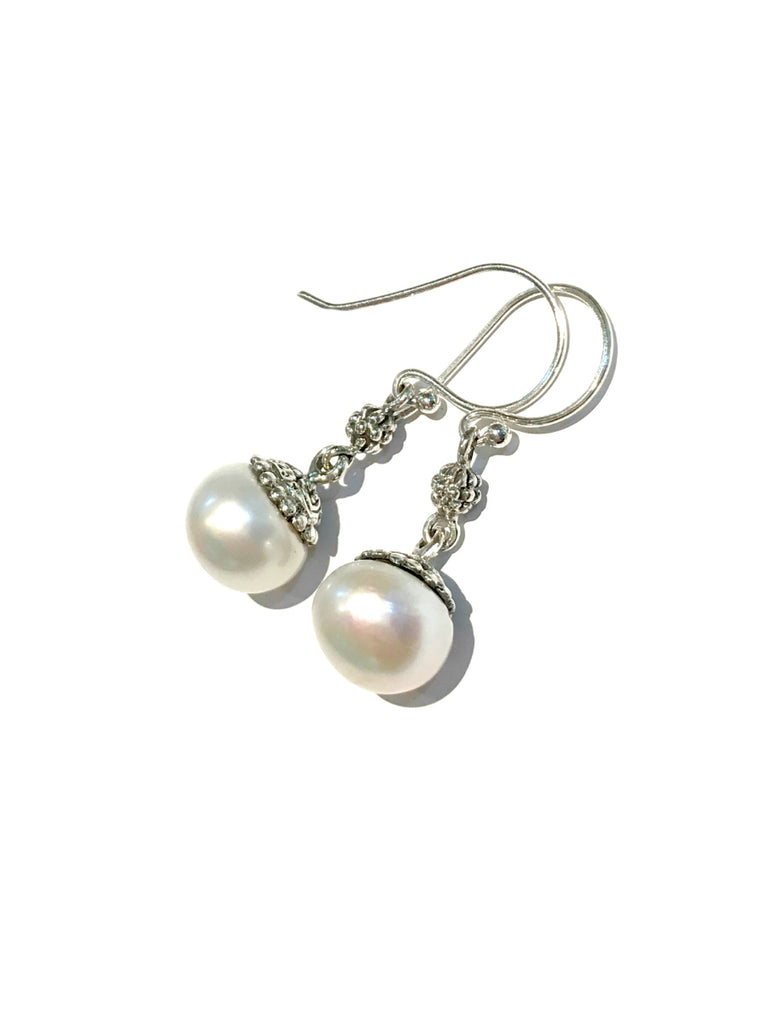 Freshwater Pearl Drop Dangles | Sterling Silver Earrings | Light Years