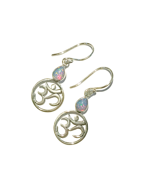 Handmade Om Dangles | Opal Sterling Silver Earrings | Light Years