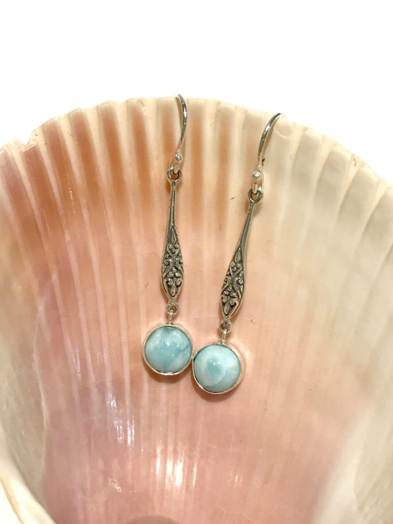 Faceted Stone Dangles | Larimar Quartz Citrine Earrings | Light Years