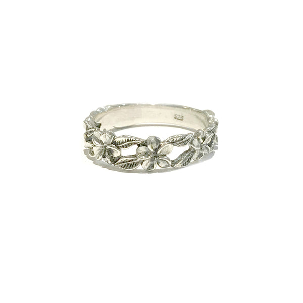 Handmade Floral Band | Sterling Silver Bali Band Size 7 8 9 | Light Years