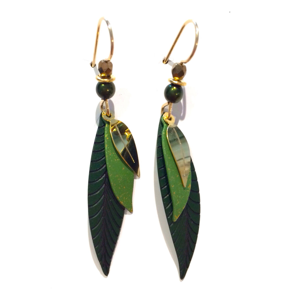 Three Green Leaves Earrings, $20 | 14kt Gold-Filled | Light Years Jewelry