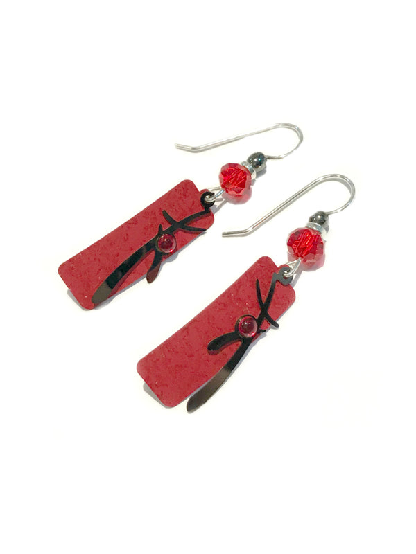 Red Column Earrings by Adajio | Sterling Silver USA Dangles | Light Years