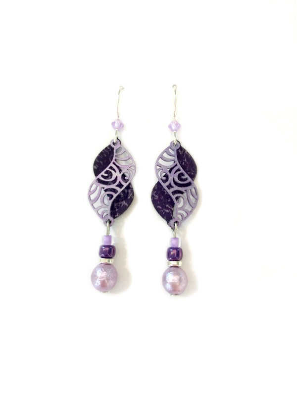Swirled Violet Curve Earrings by Adajio | Sterling Silver | Light Years