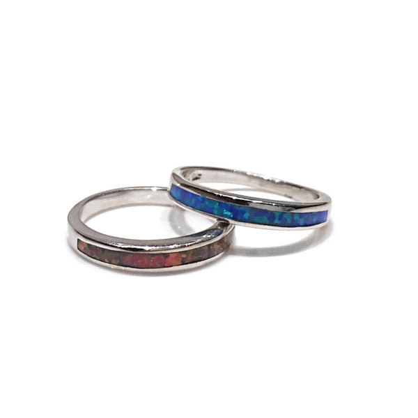 Blue or Red Opal Inlay Ring, $24 | Sterling Silver | Light Years Jewelry