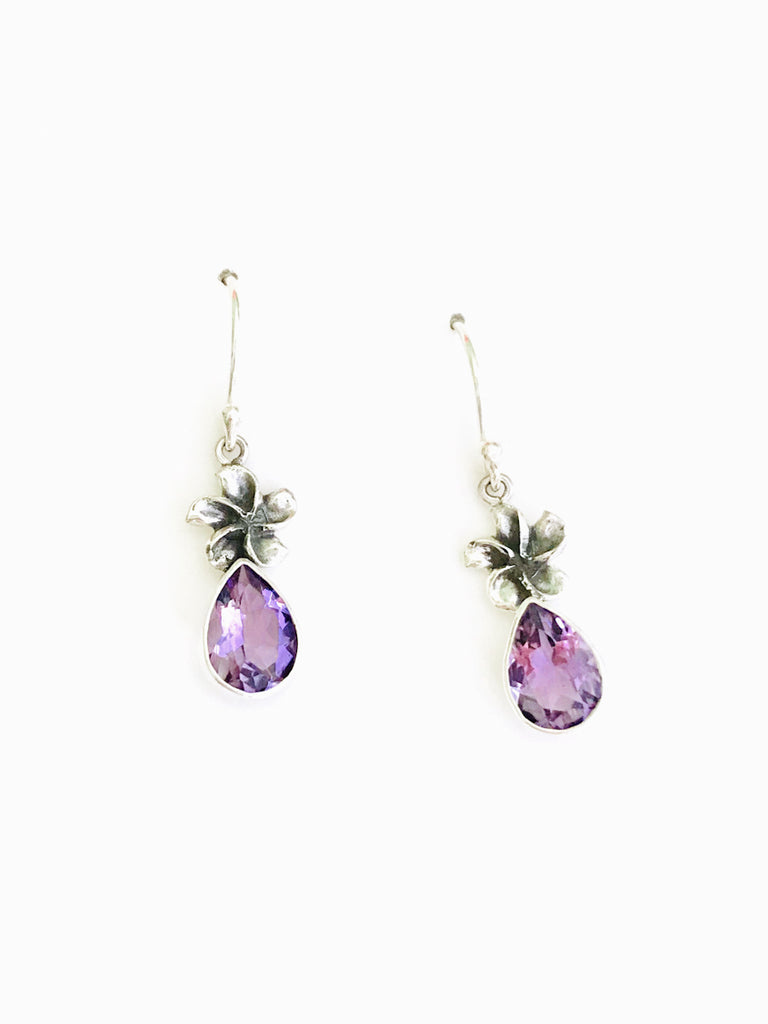 Flower & Gemstone Dangles | Amethyst Sterling Silver Earrings Bali | Light Years