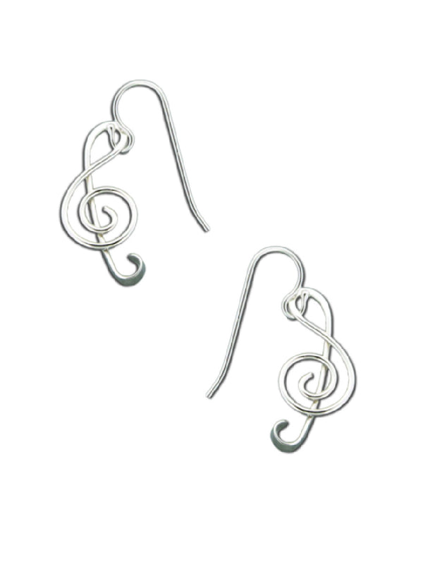 Handmade Treble Clef Dangles | Sterling Silver Earrings | Light Years