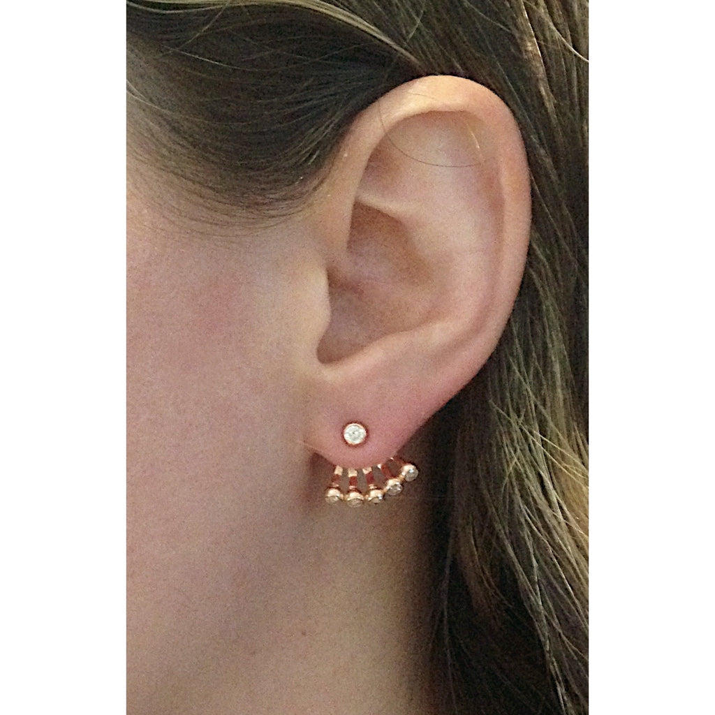 CZ Ear Jacket Posts | Sterling Silver Vermeil Earrings | Light Years