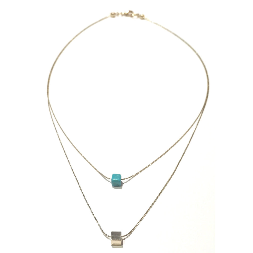 Cube and Stone Double Strand Necklace, $14 | Gold-Plated Fashion | Light Years Jewelry