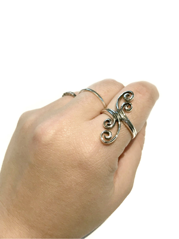 Clashing Waves Statement Ring | Sterling Silver Size 6 7 8 9 | Light Years