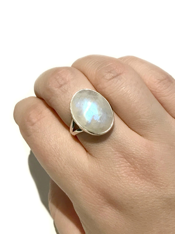 Moonstone Cabochon Ring | Size 7 8 9 Sterling Silver | Light Years