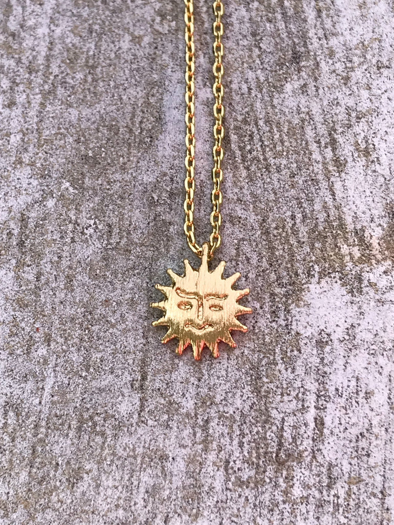 Happy Sun Necklace | Gold Plated Chain Pendant | Light Years Jewelry