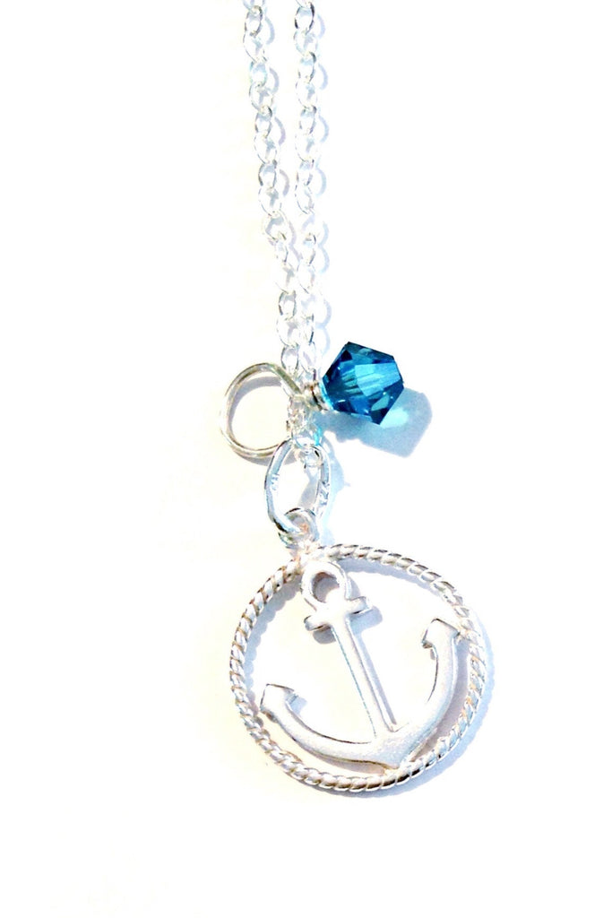 Anchor & Blue Crystal Necklace, $28 | Sterling Silver Nautical Jewelry