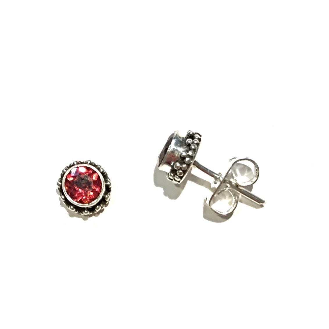 Round Faceted Garnet Posts with Border, $16 | Sterling Silver Stud Earrings | Light Years Jewelry