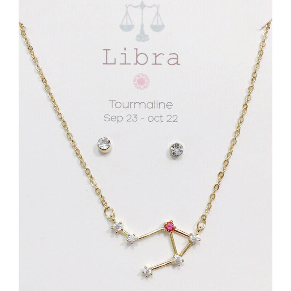 Constellation Necklace and Post Earring Set