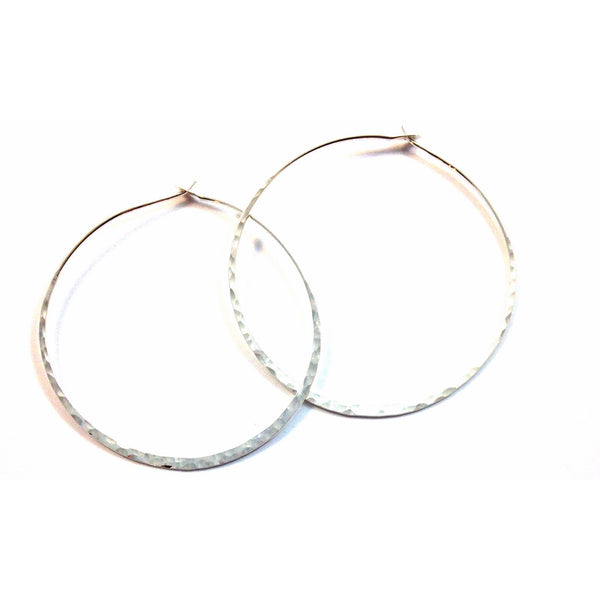 Silver Hammered Hoops | Sterling Silver Earring | Light Years Jewelry