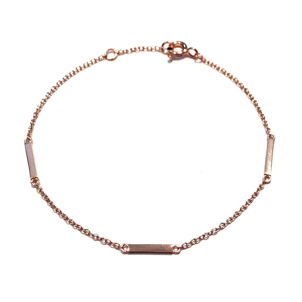 Rose Gold Three Small Bars Bracelet, $14 | Light Years Jewelry