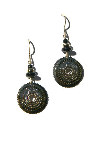 Black and Gold Mandala Dangles by Adajio, $19 | Light Years Jewelry