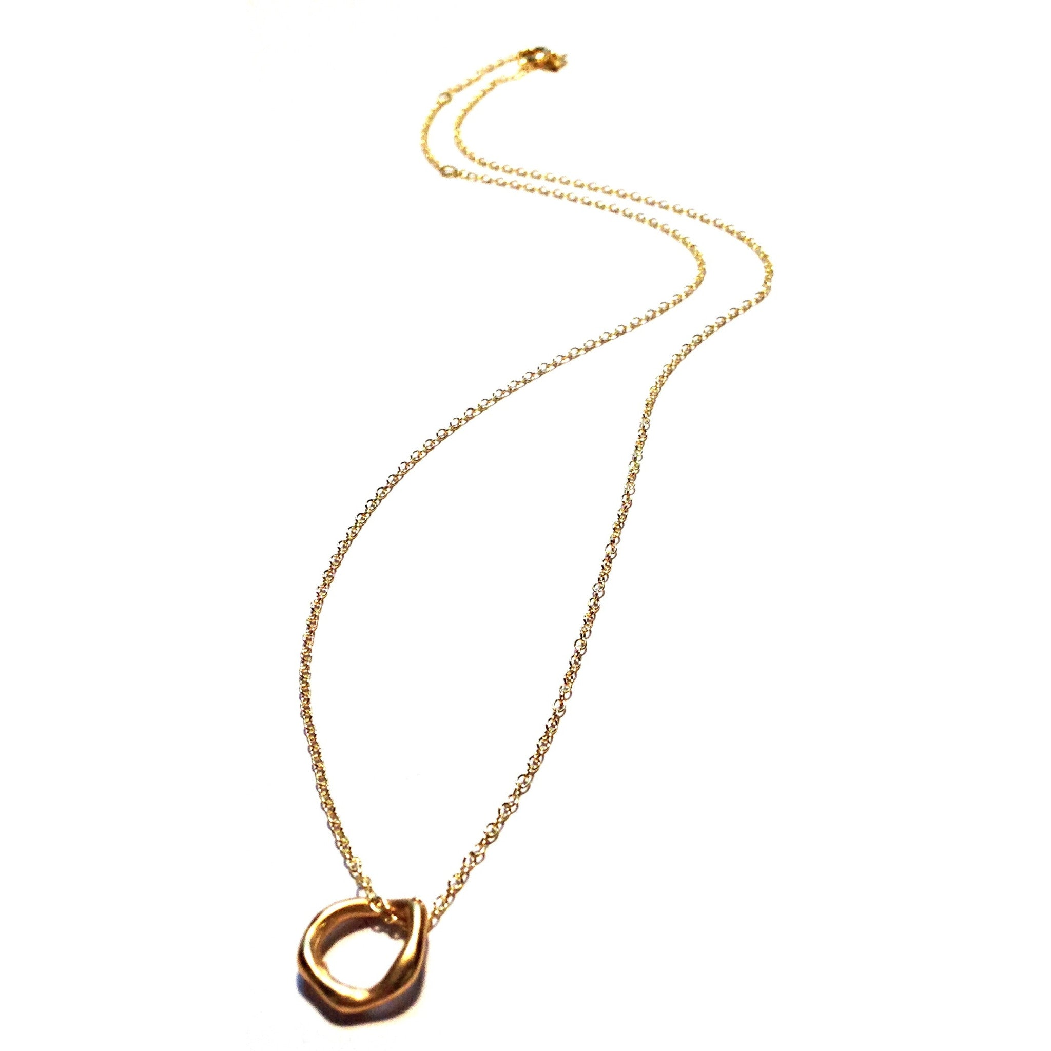 Gold Vermeil Ring Pendant Necklace