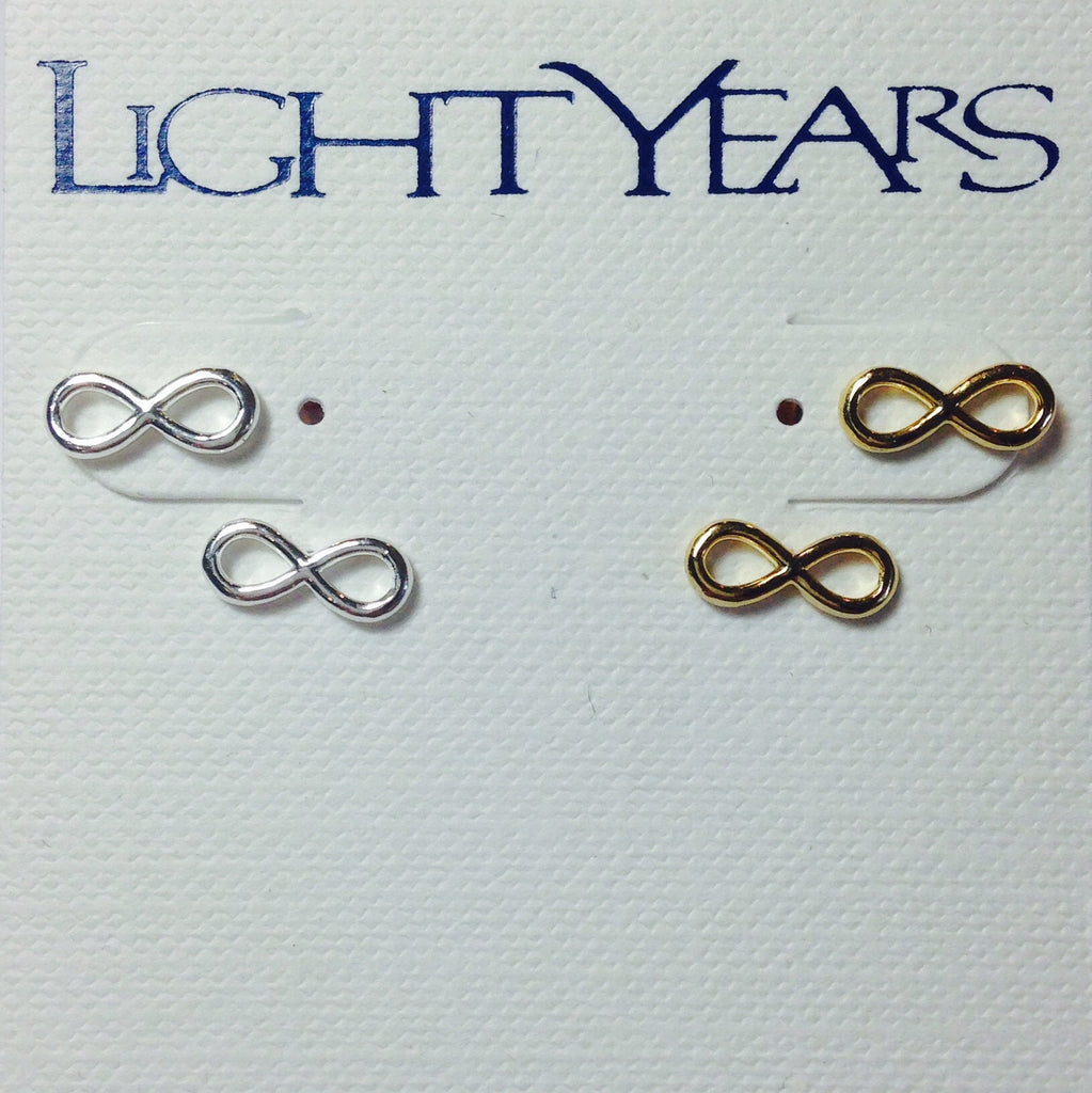 Infinity Posts, $20 | Sterling Silver or Gold Stud Earrings | Light Years Jewelry