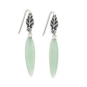 Jade Leaf Earrings | Sterling Silver Dangles | Light Years Jewelry