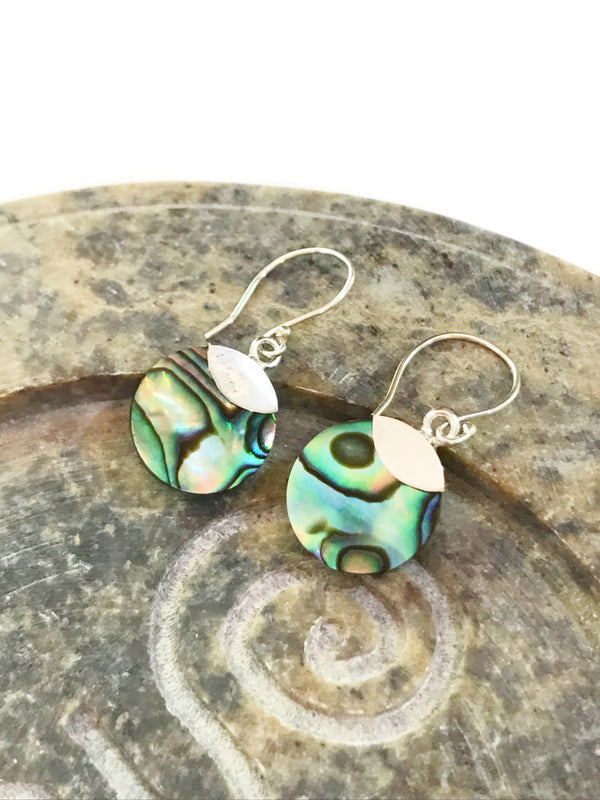 Abalone Disc Dangles | Sterling Silver Earrings | Light Years Jewelry