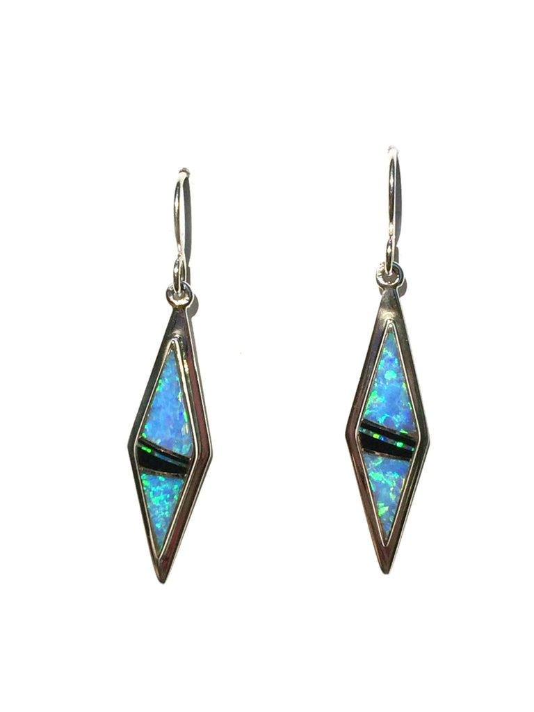 Navajo Opal & Onyx Inlay Earrings | Sterling Silver | Light Years Jewelry