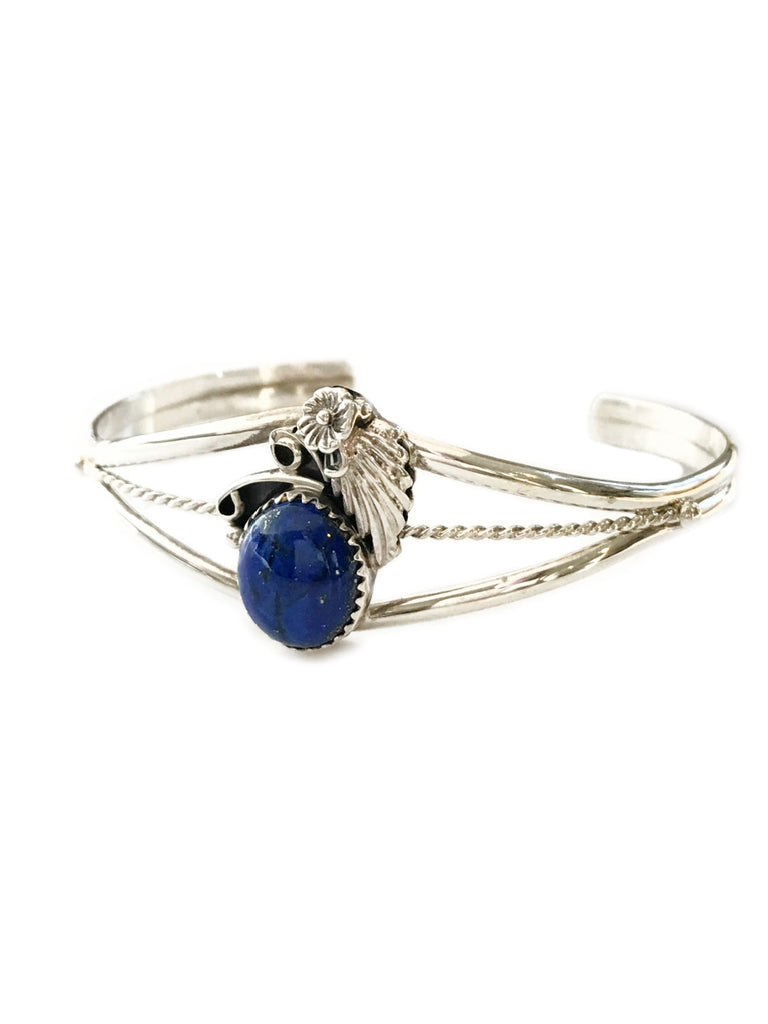 Handmade Navajo Lapis Cuff Bracelet | Sterling Silver | Light Years