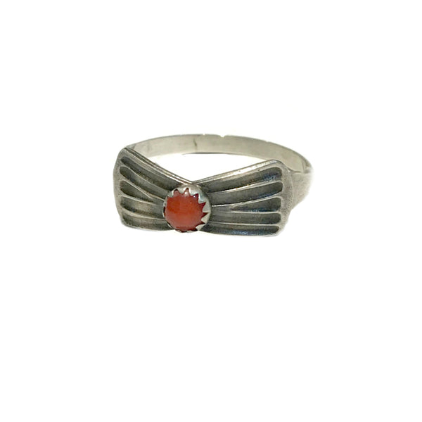 Handmade Red Coral Bowtie Ring | Sterling Silver 6 7 8 9 | Light Years