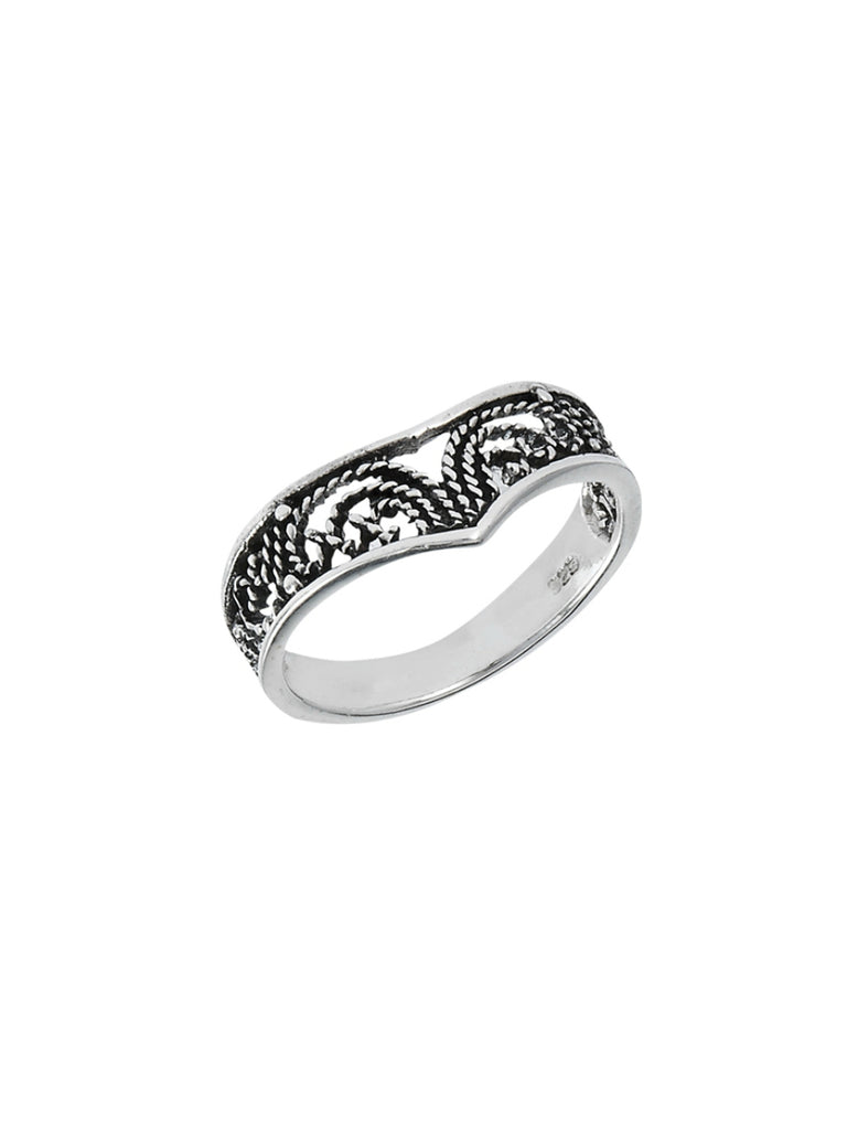 Filigree Chevron Ring | Sterling Silver Size 5 6 7 8 9 | Light Years
