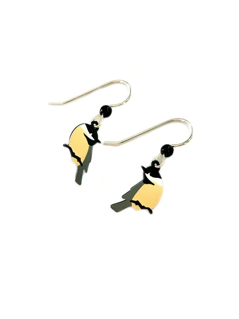 Chickadee on Branch Dangles | Sterling Silver | Light Years Jewelry