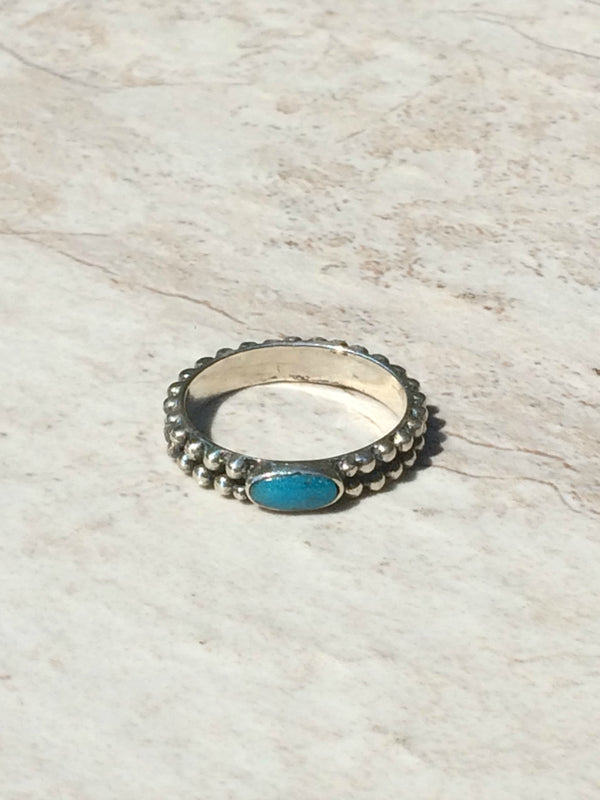Silver & Turquoise Handmade Band | Sterling Silver Navajo | Light Years