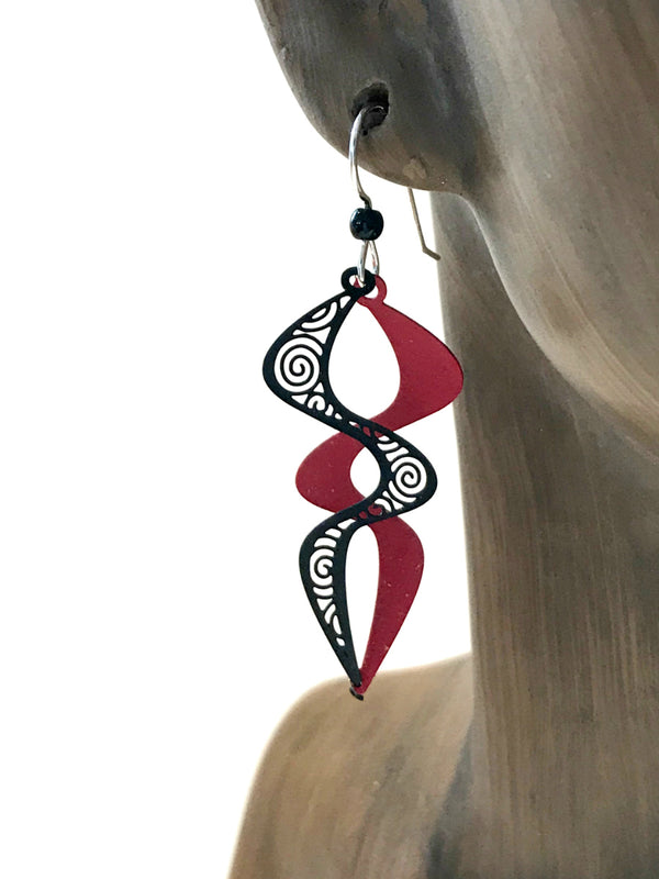 Red & Black Helix Dangles by Adajio | Sterling Silver | Light Years
