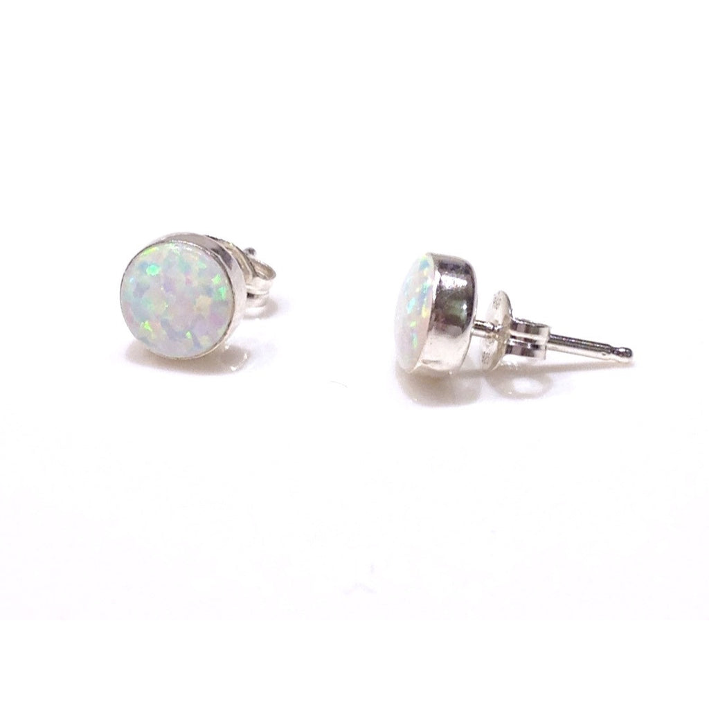 Round White Opal Posts, $9-$12 | Sterling Silver Stud Earrings | Light Years Jewelry
