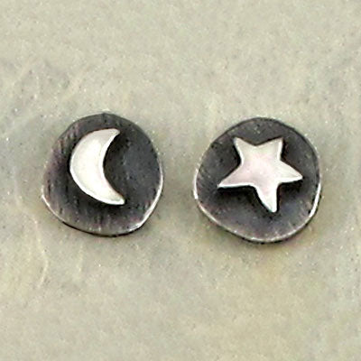 Moon & Star Mismatched Stud Earrings, $17 | Sterling Silver | Light Years