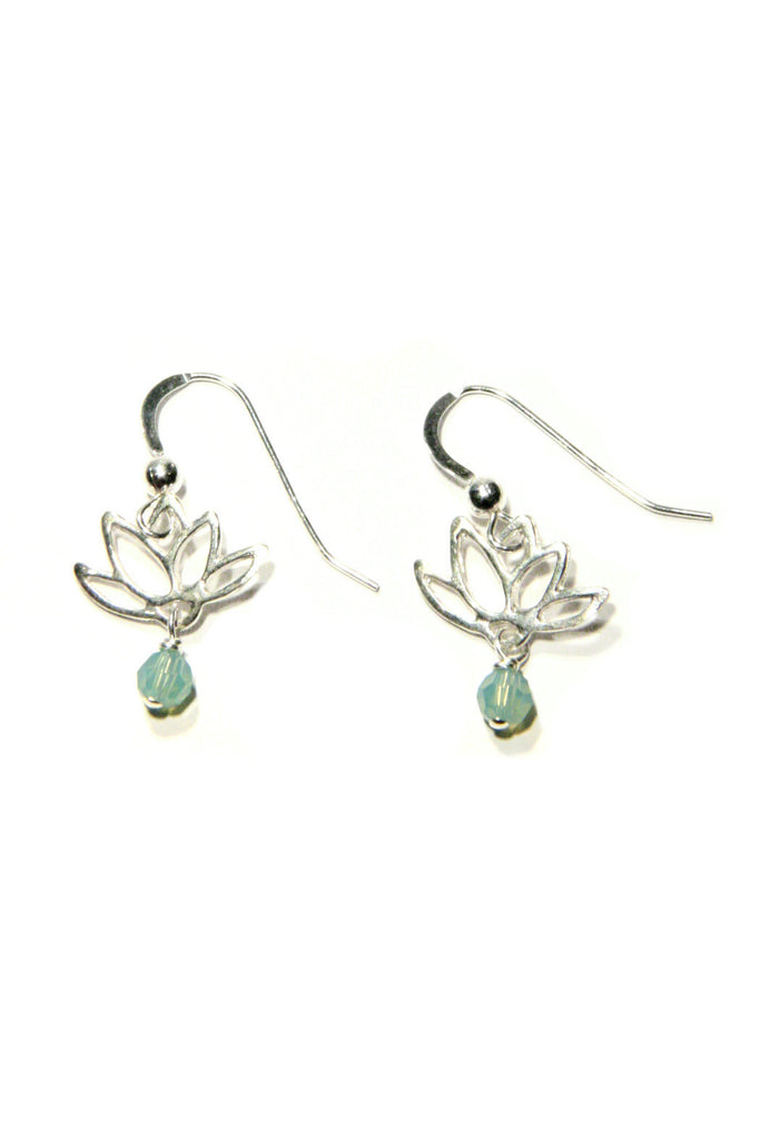 Lotus & Crystal Dangles, $18 | Sterling Silver | Light Years Jewelry