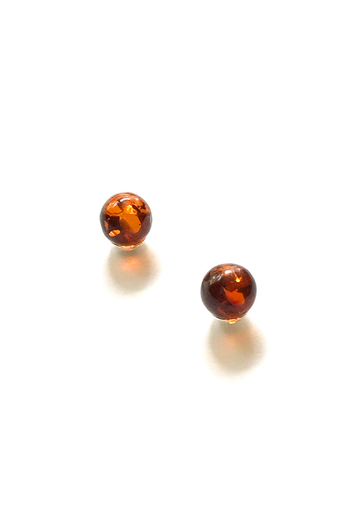 Amber Ball Earrings | Sterling Silver Post Earrings