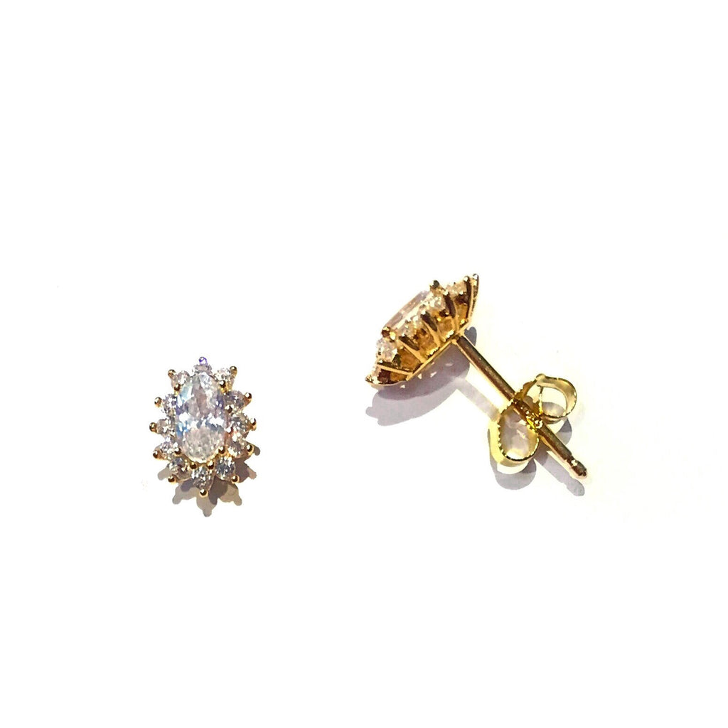 Gold Vermeil Oval CZ Posts with Border | Stud Earrings | Light Years Jewelry