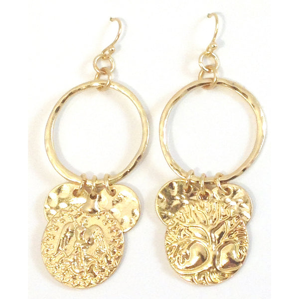Gold Greco Roman Coin Earrings, $9 | Fashion | Light Years Jewelry