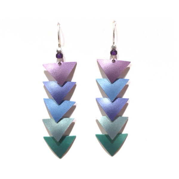 Ombre Triangle Leaves Earrings $22 | Purple, Blue, Teal | Light Years