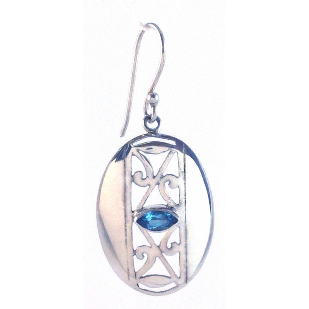Filigree Earrings & Blue Topaz Stone, $36 | Sterling Silver | Light years Jewelry