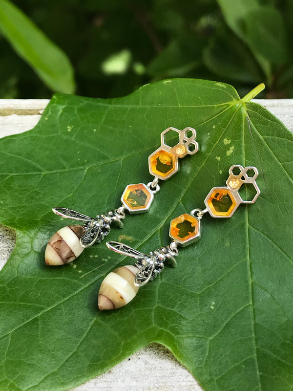 Amber Bee & Comb Posts | Sterling Silver Studs Earrings | Light Years